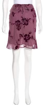 Whistles Velvet-Accented Knee-Length Skirt