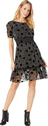 Betsey Johnson Women's Metallic Dress with Flocked Dots
