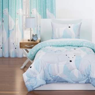 Crayola White Bear Reversible Comforter With Sham Blue