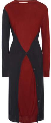 Marni - Asymmetric Two-tone Wool Midi Dress - Burgundy