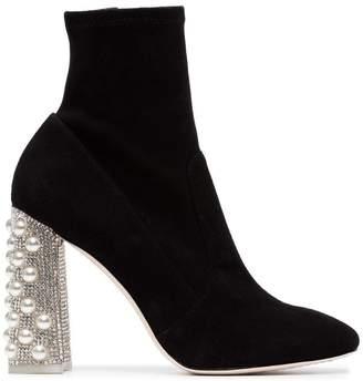 Sophia Webster Black Felicity crystal heel 100 suede boots