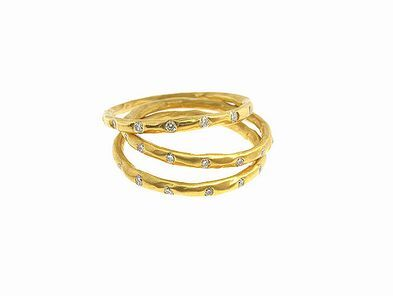Arunashi Thin Bands with Diamonds
