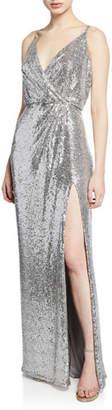 Tadashi Shoji Sequin V-Neck Sleeveless Column Gown with Thigh-Slit