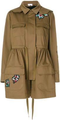 RED Valentino flower patch parka coat
