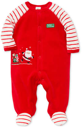 Little Me Baby Boys Velour Santa Footed Coverall