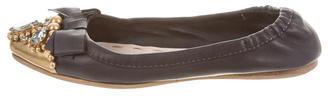 Miu MiuMiu Miu Embellished Cap-Toe Flats