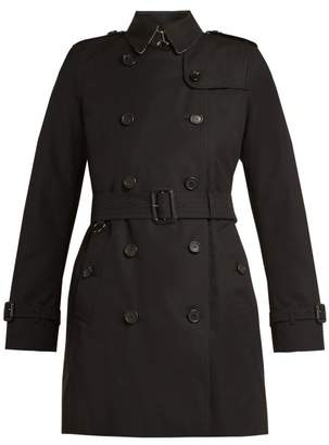 Burberry Kensington Belted Cotton Trench Coat - Womens - Black