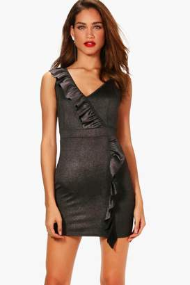boohoo Metallic Ruffle Detail Bodycon Dress