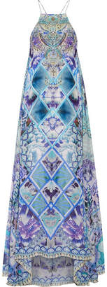 Camilla - Chinese Whispers Embellished Printed Silk-georgette Maxi Dress - Azure $700 thestylecure.com