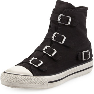 Ash Virgin Buckled Canvas Sneaker, Black $109 thestylecure.com