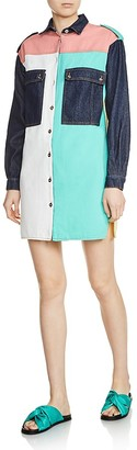 Maje Rhodes Patchwork Denim Shirt Dress $295 thestylecure.com