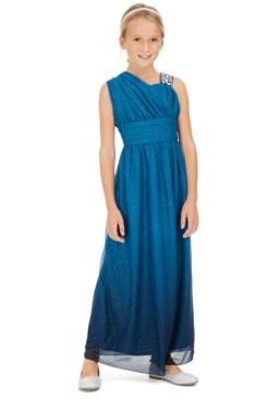 Sequin Hearts Big Girls One-Shoulder Ombre Dress