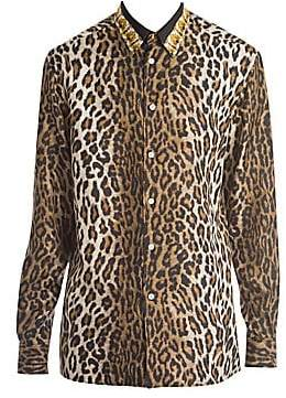 80a8cc49 Men's Cheetah Long-Sleeve Silk Blouse