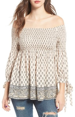 Women's Socialite Smocked Off-The-Shoulder Top $45 thestylecure.com