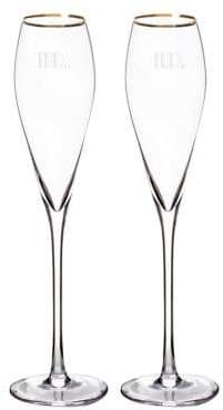 Cathy's Concepts Mr. and Mr. Gatsby Gold Rim Champagne Flutes