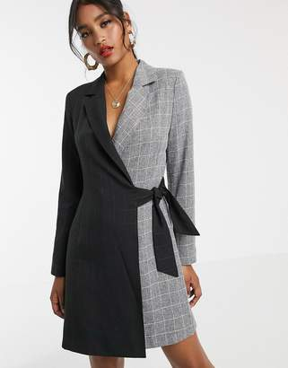 UNIQUE21 contrast wrap blazer dress