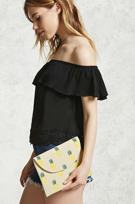 FOREVER 21+ Pineapple Straw Clutch $12.90 thestylecure.com