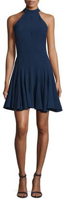 Jovani Halter-Neck Fit-&-Flare Cocktail Dress, Navy $495 thestylecure.com