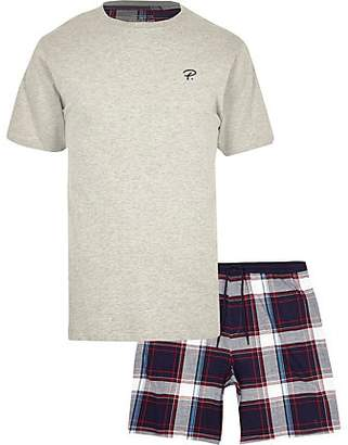 River Island Grey Prolific check pyjama set