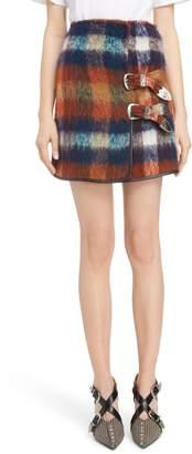 Toga Plaid Shaggy Wool & Mohair Blend Miniskirt