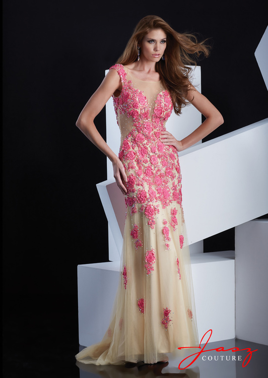 Jasz Couture - 5348 Dress in Fuschia and Nude