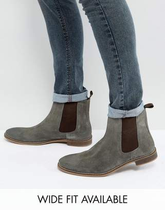 Asos DESIGN Chelsea Boots in Gray Suede - Wide Fit Available