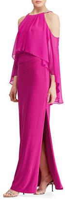Lauren Ralph Lauren Beaded Georgette-Jersey Cold-Shoulder Gown