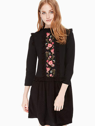 Kate Spade Embroidered mixed media dress