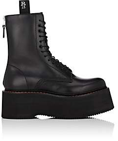 R 13 Women's Double Stacked Leather Combat Boots - Black