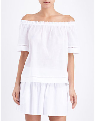 Seafolly Off-the-shoulder cotton-voile top $65 thestylecure.com