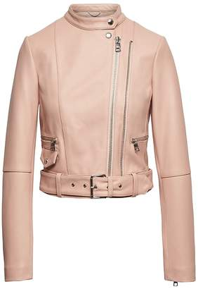 Banana Republic Heritage Cropped Leather Moto Jacket
