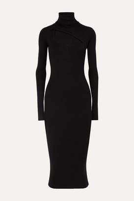 Alix Clarkson Cutout Ribbed Stretch-modal Jersey Turtleneck Dress - Black