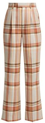Acne Studios Checked Cool Blend Trousers - Womens - Cream Multi