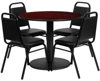 Flash Furniture 36'' Round Mahogany Laminate Table Set with 4 Black Trapezoidal Back Banquet Chairs