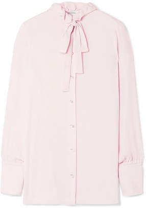 Valentino Pussy-bow Embellished Silk Blouse - Baby pink