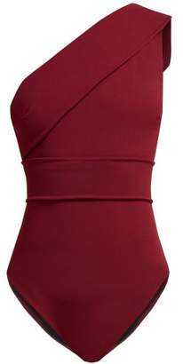 Haight Maria One Shoulder Swimsuit - Womens - Burgundy