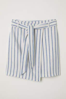 H&M Linen-blend Wrap Skirt - White