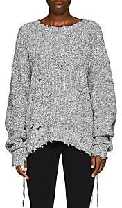 Helmut Lang Women's Distressed Cotton-Blend Sweater - Gray
