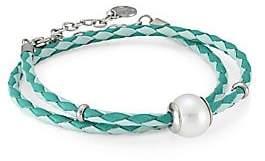 Majorica Women's Amazona Braided Double-Wrap Imitation Pearl & Leather Bracelet