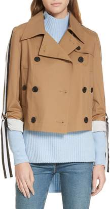 Veronica Beard Mert Belt Sleeve Crop Trench Coat