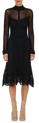 Derek Lam Women's Button-Detailed Cotton Crochet Dress-BLACK $2,495 thestylecure.com