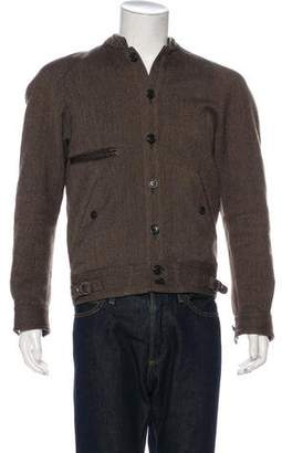 Lemaire Wool Leather-Trimmed Bouclé Jacket