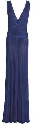 Missoni Wrap-Effect Metallic Ribbed-Knit Maxi Dress