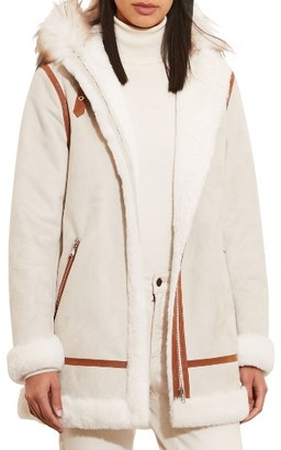 Women's Lauren Ralph Lauren Faux Shearling Parka With Faux Fur $350 thestylecure.com