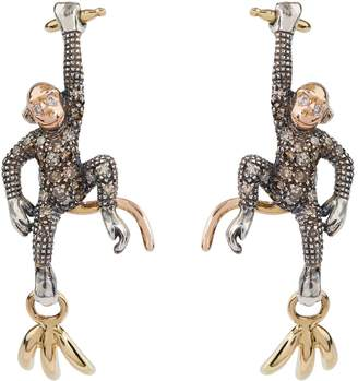 Bibi Van Der Velden Mixed Metal and Diamond Monkey Earrings
