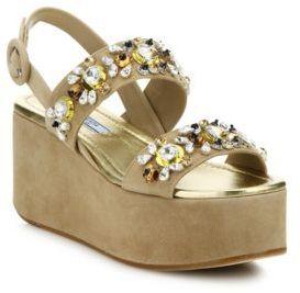 Prada Embellished Suede Platform Wedge Sandals $1,500 thestylecure.com