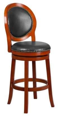 "Flash Furniture 30"" High Light Cherry Wood Barstool with Walnut Leather Swivel Seat"