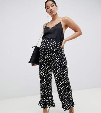 Asos DESIGN Maternity pants with fluted ruffle hem in spot print