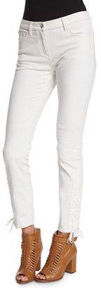Belstaff Mid-Rise Lace-Up Ankle Jeans, Off White $395 thestylecure.com