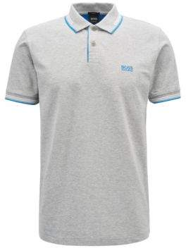 BOSS Hugo Slim-fit stretch-cotton polo shirt contrast tipping L Open Grey